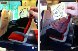 Cartoon characters on commute